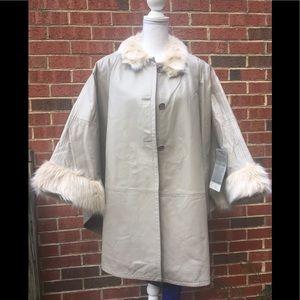 Chic Leather Poncho Coat